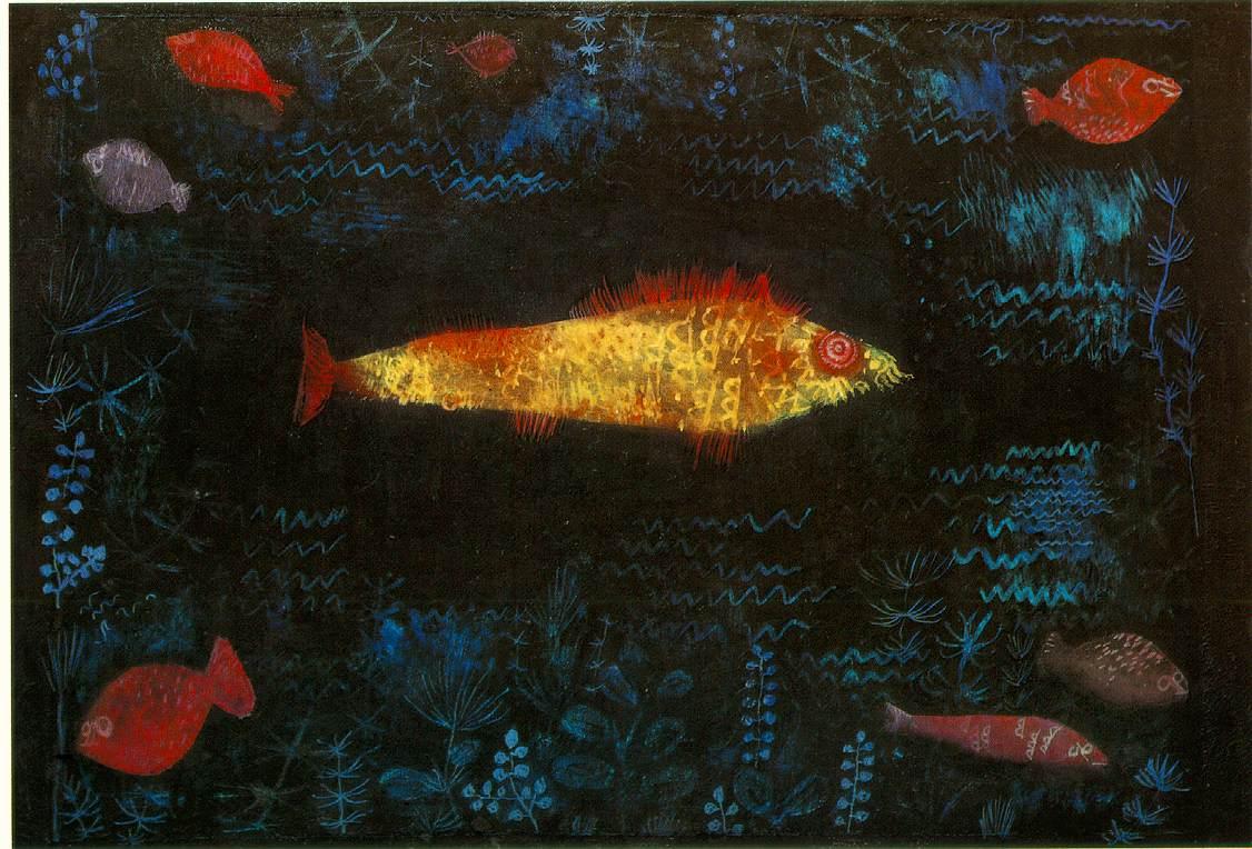 金色の魚 金色の魚 クレー 上の画像をクリックすると拡大画像が表示されます 「金色の魚」(192